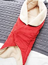 Wallaboo Baby Blanket Cozy Faux Suede with Thick Shearling Lining, Warm red