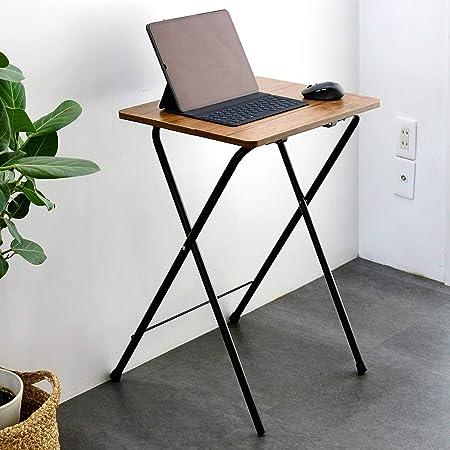 [山善] テーブル ミニ 折りたたみ サイドテーブル 幅50×奥行48×高さ70cm ハイタイプ 傷・汚れ・水分・熱に強い天板(メラミン加工) なめらかな表面 角が丸い アンティークブラウン/ブラックRYST5040H(ABR/BK4) 在宅勤務