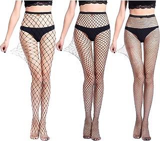 3 Pairs High Waist Tights Fishnet Stockings Thigh High Socks Mesh Net Pantyhose Black