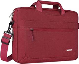 MOSISO Laptop Shoulder Bag Compatible with 13-13.3 inch MacBook Pro, MacBook Air, Notebook Computer with Adjustable Depth at Bottom, Polyester Messenger Carrying Briefcase Handbag Sleeve, Wine Red