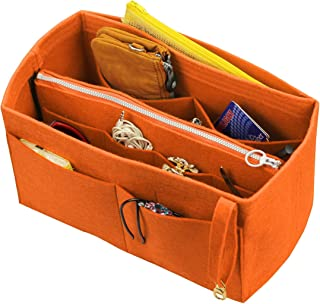 [Fits Birkin 35, Orange] Felt Organizer (with Detachable Middle Zipper Bag), Bag in Bag, Wool Purse Insert, Customized Tote Organize, Cosmetic Makeup Diaper Handbag