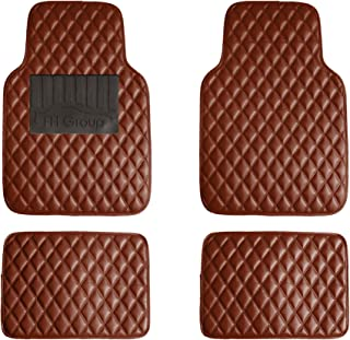 FH Group F12002 Luxury Universal All-Season Heavy Duty Faux Leather Car Floor Mats Stripe Design w. High Tech 3-D Anti-Skid/Slip Backing, Brown Color