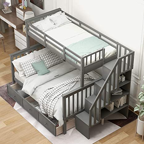 Amazon Com Twin Over Full Bunk Beds Solid Wood Bunk Bed With 3 Storage Drawers Twin Beds For Kids With Ladder And Guard Rail Grey Kitchen Dining