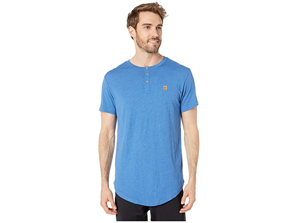 tentree Long Tee Henley (Delft Blue) Men
