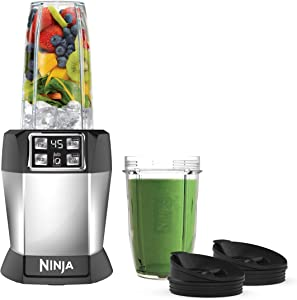 Ninja BL480 Nutri with 1000 Watt Auto-IQ Base for Juices, Shakes & Smoothies Personal Blender 18 and 24 oz. Black/Silver