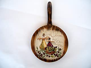 Salvamanteles de madera, decoracion de cocina, redonda placa d-13 cm, tabla de cortar rustico, aceite de oliva design