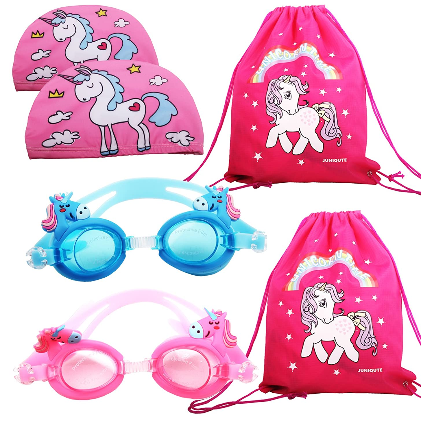 2PCS Kids Unicorn Swim Goggles with 2PCS Unicorn Breathe Swim Cap-Sun Protection Hat and 2PCS unicorn bags, Pack of 6, Swimming Glasses for Girls and Early Teens from 3 to 15 Years Old, Anti-Fog, Wate