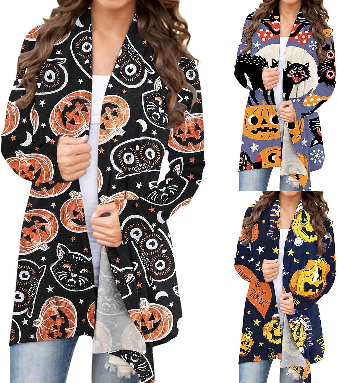 AIHOU Halloween Clothes for Women Pumpkin Face Black Cats Skeleton Print Cardigan for Women Long Sleeve Cute Coat Blouses