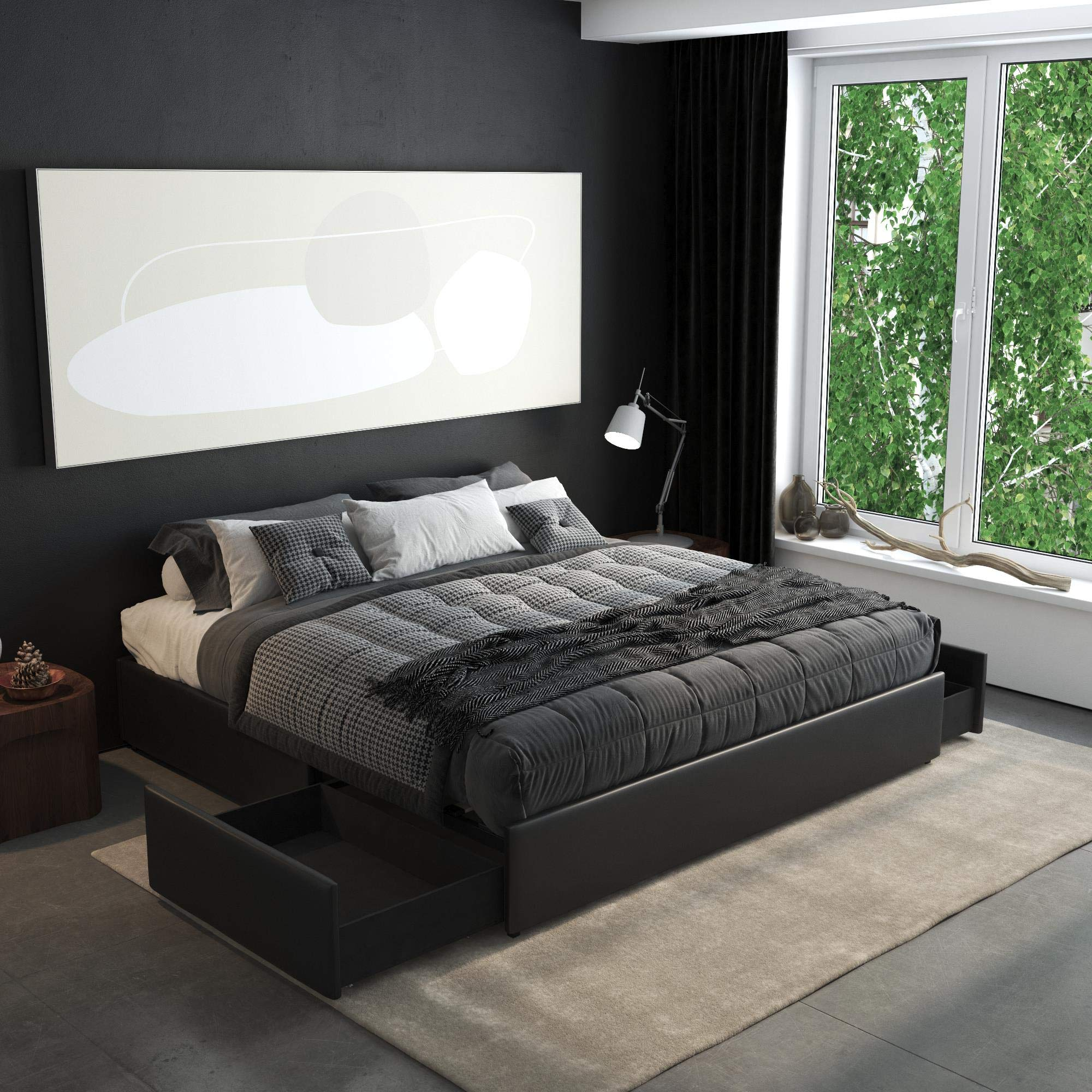Amazon Com Dhp Maven Platform Storage King Size Frame Black Upholstered Beds Faux Leather Furniture Decor