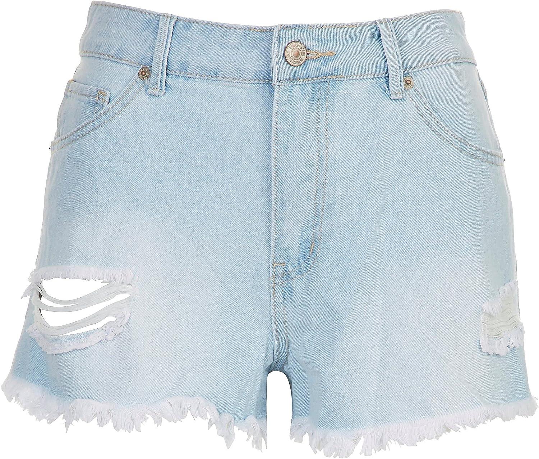 Rewash Juniors High Waisted Wedge Shorts 1 Light Denim