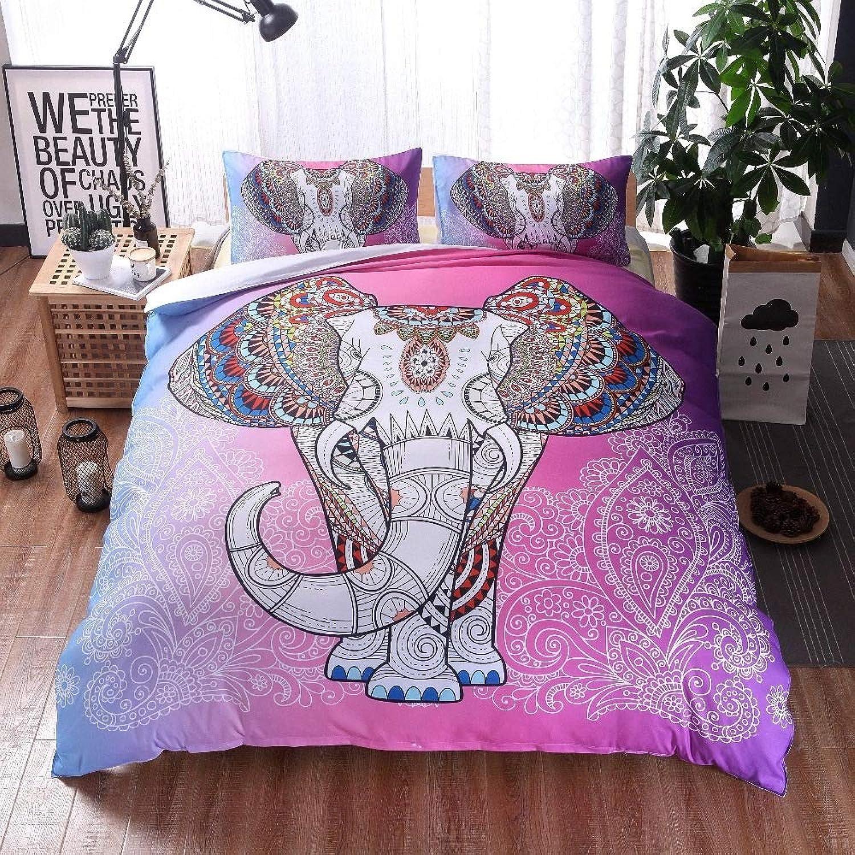 WNJ-bedding 2019 Sets de Housses de couettes, 3pcs 100% Polyester Couleuré éléphant Ensembles de literie Ensembles Housse de Couette bohème avec taie d'oreiller Mandala imprimé Animal Literie