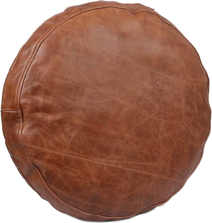 SKINOUTFIT Genuine お得 Leather Round Pi Cushion 即出荷 Covers Soft