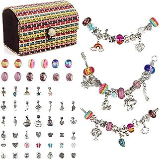 Kit Bijoux de Bracelets à Breloques Bracelet Enfant, Bijoux Enfants Fille Cadeau Fille 6 à 12 Ans Kit Fabrication Bracelet...