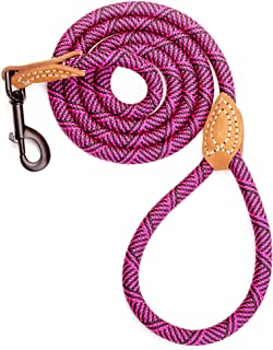 Mile High Life Leather Tailor Reinforce Handle Mountain Climbing Dog Rope Leash with Heavy Duty Metal Sturdy Clasp (Hot Pi...