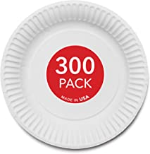 """Stock Your Home 9-Inch Paper Plates Uncoated, Everyday Disposable Plates 9"""" Paper Plate Bulk, White, 300 Count"""