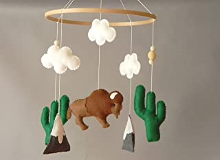 American Bison baby mobile Buffalo nursery mobile Cactus Mountain mobile Boy Girl bison nursery decor Aztec desert decor Tribal felt mobile