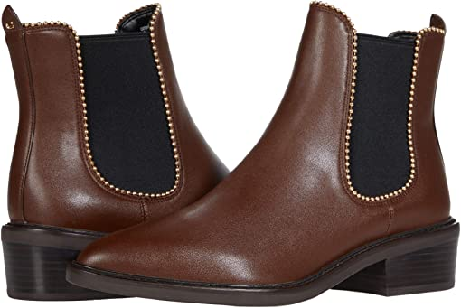 COACH Bowery Leather Bootie,Walnut