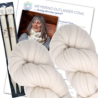Air Merino Outlander Cowl KNIT KIT includes super soft thick Air Merino yarn, big needles and written pattern. Color: NATURAL