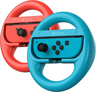 ATECH INNOVATION Nintendo Switch Steering Wheel Mario Kart 8 Deluxe Compatible with Joy-Con Controllers - Red/Blue (Pack o...