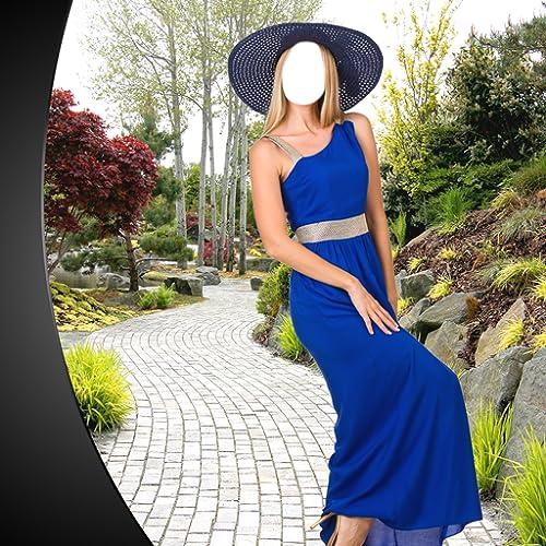 Montagem longa da foto do vestido da mulher