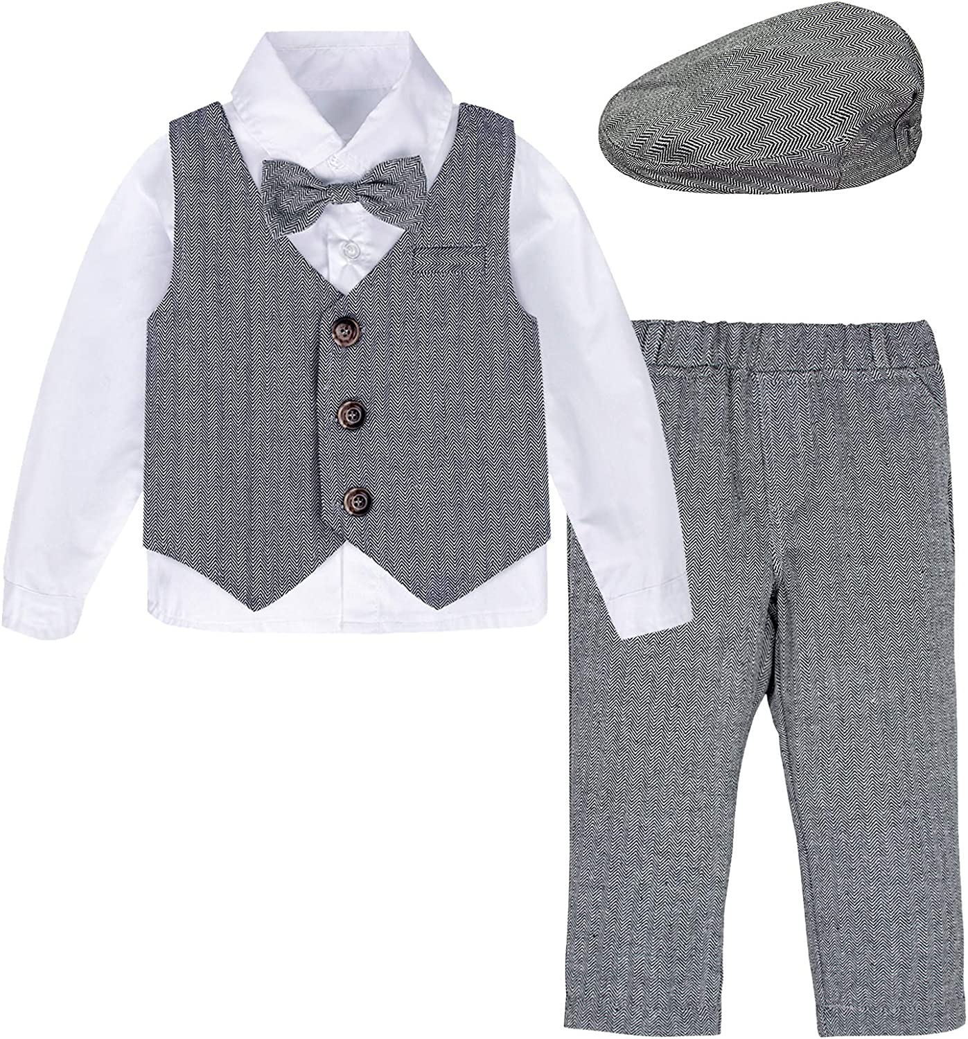 mintgreen Baby Boy Gentleman Suit Set Shirt with Bowtie+Waistcoat+Pants+Berets 4pcs Outfits Size:1-4 Years