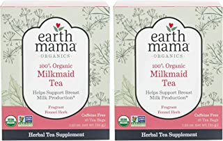 Earth Mama Organic Milkmaid Tea Bags for Breastfeeding Mothers, 16-Count, 2-Pack