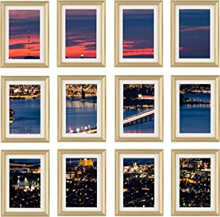 Frametory, 5x7 Gold Picture Frame - Set of 12 - Ivory Mat for 4x6 Pictures - Aluminum Metal - Easel Stand for Table Top - Raised Curved Molding - Great for Graduations, Parties, Pics