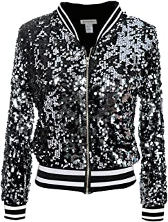 Womens Sequin Long Sleeve Front Zip Jacket with Ribbed Cuffs