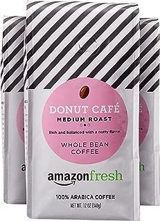 AmazonFresh Donut Cafe Whole Bean Coffee, Medium Roast, 12 Ounce (Pack of 3)