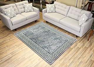 Studio Collection Meander Ancient Roman Design Contemporary Modern Area Rug Rugs 3 Different Color Options (Grey, 5 x 7)