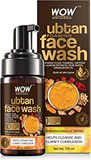 WOW Skin Science Ubtan Foaming Face Wash - With Chickpea Flour, Turmeric, Saffron & Almond Extracts - No Parabens, Sulphat...
