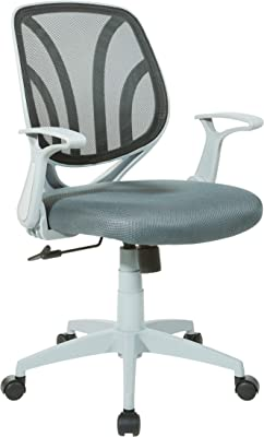 Amazon Com Office Chair Ergonomic Mid Back Swivel Chair Height Adjustable Lumbar Support Computer Desk Chair With Armrest Grey And White Furniture Decor