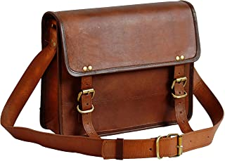 "13"" Leather Messenger Bag Laptop case Office Briefcase Gift for Men Computer Distressed Shoulder Bag"