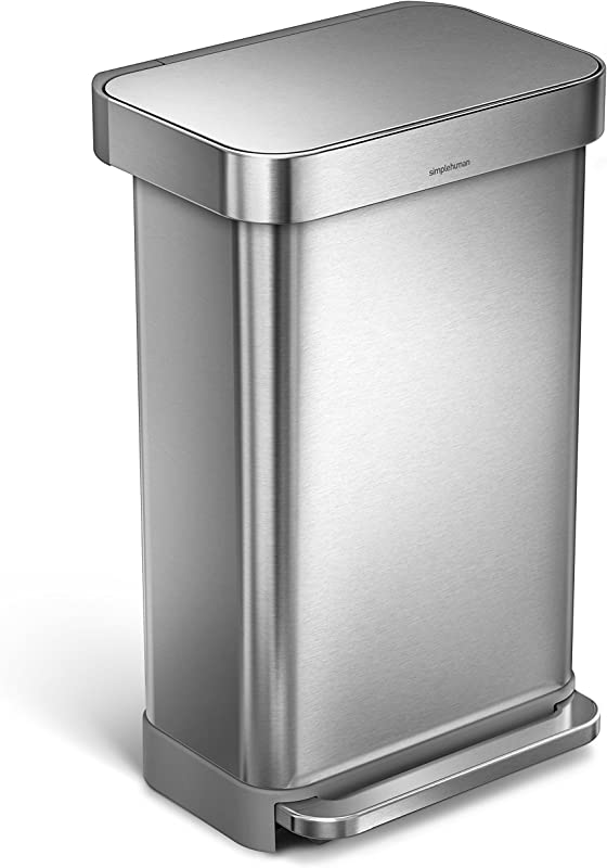 Simplehuman 45 Liter 12 Gallon Stainless Steel Rectangular Kitchen Step Trash Can With Liner Pocket Brushed Stainless Steel
