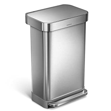 simplehuman 45 Liter Rectangular Hands-Free Kitchen Step Trash Can with Soft-Close Lid Brushed Stainless Steel