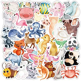 ELECDON Cute Animal Stickers for Kids, Cartoon Animal Stickers for Water Bottle Laptop, Watercolor Animal Stickers for Scr...