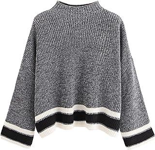 SweatyRocks Women's Casual Drop Shoulder Long Sleeve Mock Neck Knit Sweater Pullover Tops