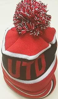 red white black bobble hat