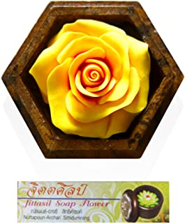 Jittasil Thai Hand-Carved Soap Flower, 4 Inch Scented Soap Carving Gift-Set, Yellow Rose In Decorative Hexagonal Pine Wood Case