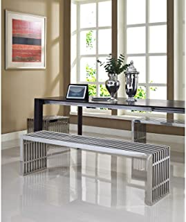 Modway Gridiron Benches Set of 3 in Silver