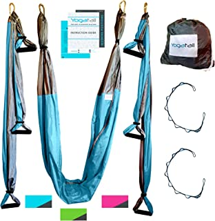 Aerial Trapeze Yoga Swing - Gym Strength Antigravity Yoga Hammock - Inversion Trapeze Sling Exercise Equipment with Two Extender Hanging Straps - Blue Pink Grey Swings & Beginner Instructions