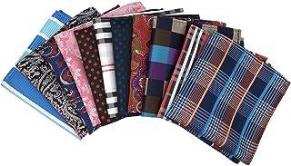 MENDENG Mens 11 Pack Assorted Cotton Polka Dots Pocket Square Handkerchief Business