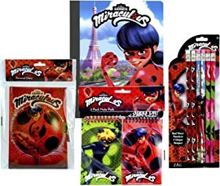 Miraculous Ladybug Writing Stationery Set- Diary with Lock, Composition Book, Notepads, 6pk Pencils