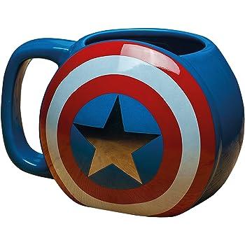 Elbenwald Vengadores Edad de Ultron Capit/án Am/érica Taza Taza de caf/é El Logotipo de superh/éroes Regalo Licencia 300ml Azul
