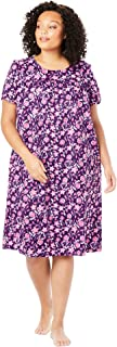 Only Necessities Women's Plus Size Short Print Shirred Lounger