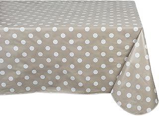 J&M Home Fashions Geometric Waterproof & Spill Proof Vinyl Tablecloth, 60x84, Beige & White Polka Dot