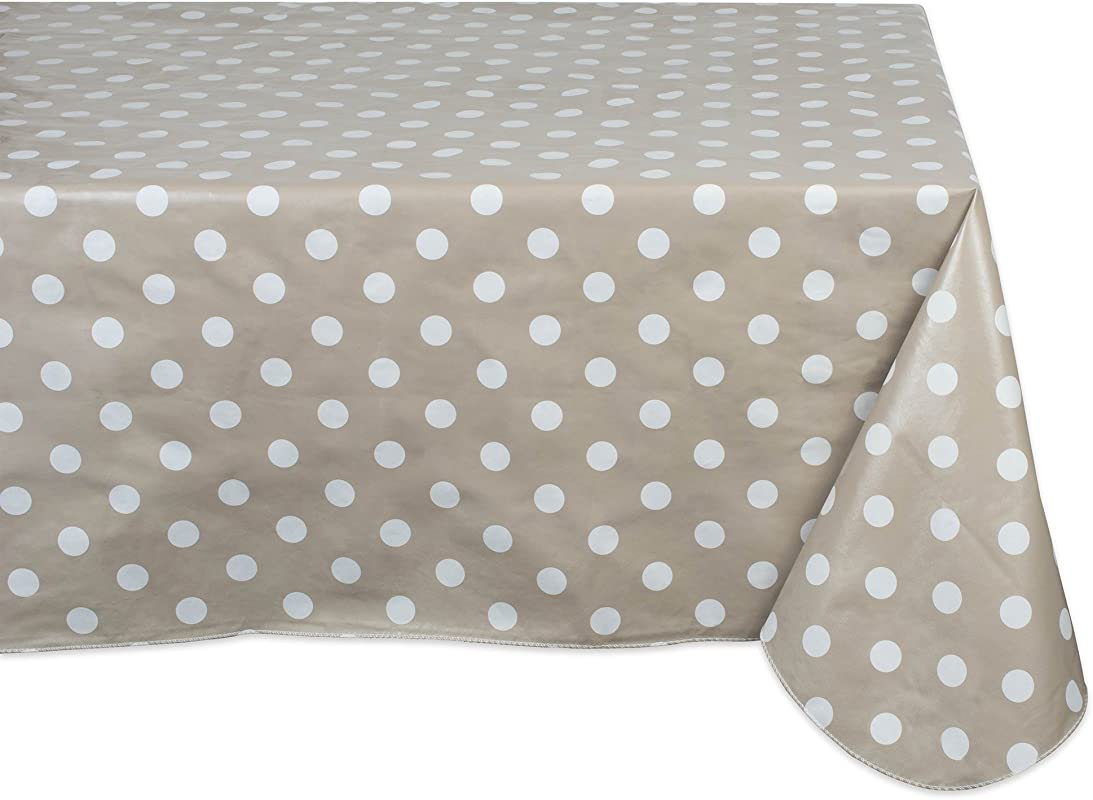 J M Home Fashions Geometric Tablecloth Waterproof Spill Proof Vinyl 60x84 Beige White Polka Dot