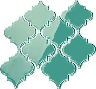 Giorbello Glass Arabesque Tile in Teal - 2 Sheets