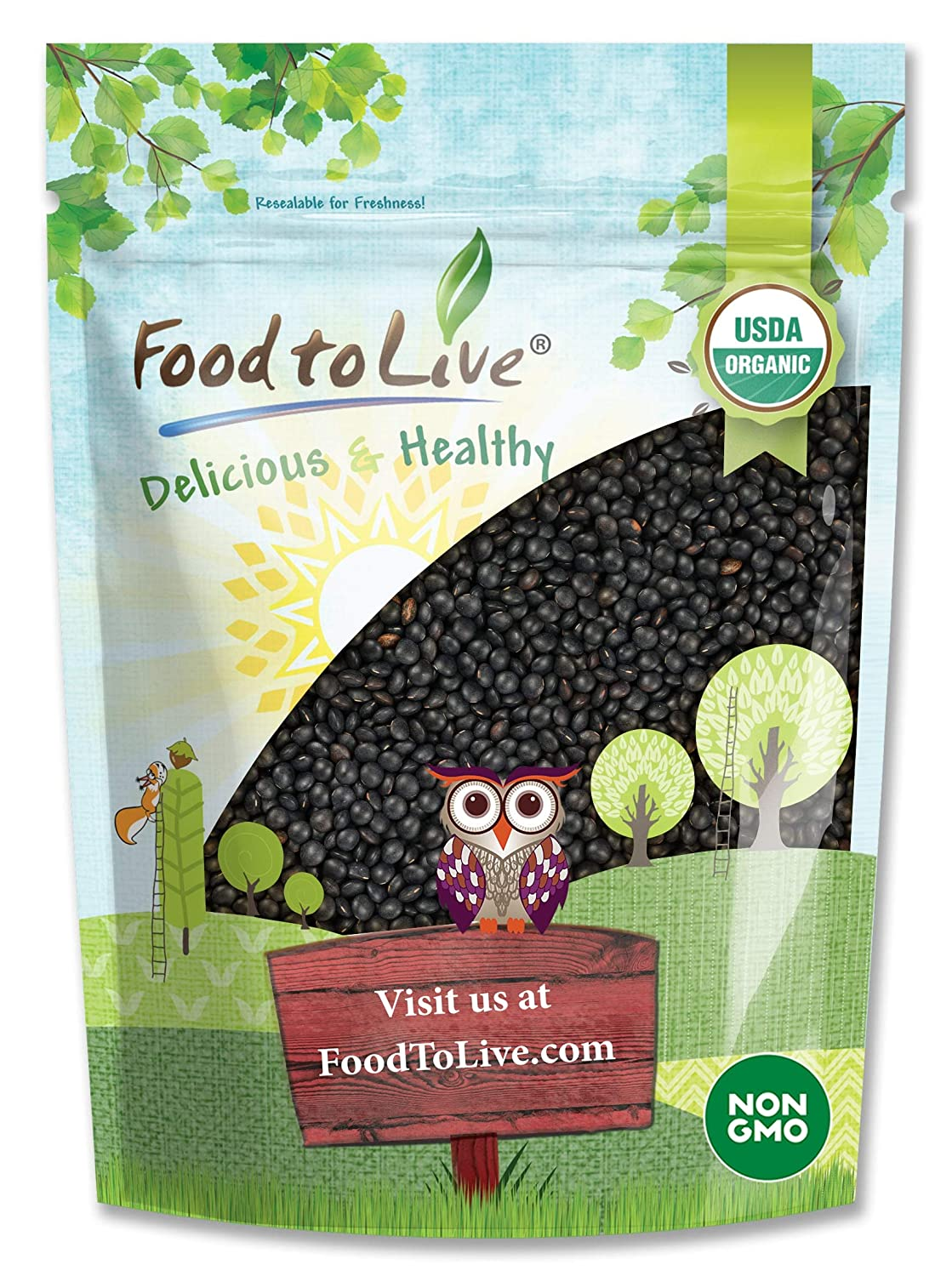 Organic Black Lentils 3 Pounds - Pulses Whole Raw Non-GMO Colorado Springs Mall wholesale Dry
