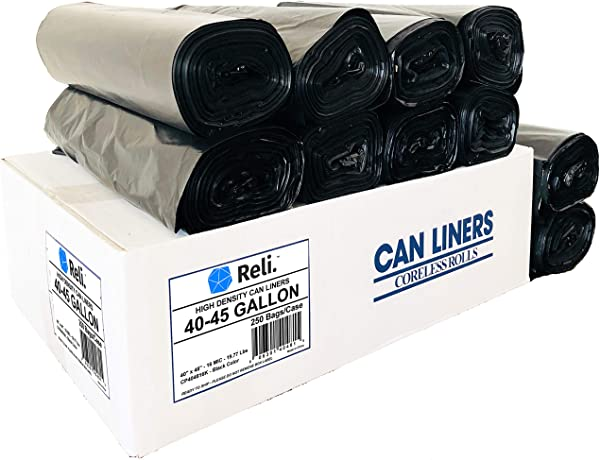Reli Trash Bags 40 45 Gallon 250 Count Wholesale Star Seal High Density Rolls Black Can Liners Garbage Bags With 40 Gallon 40 Gal To 45 Gallon 45 Gal Capacity